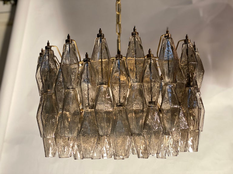 Pair of Grey Poliedri Murano Glass Chandeliers in Carlo Scarpa Style For Sale 8