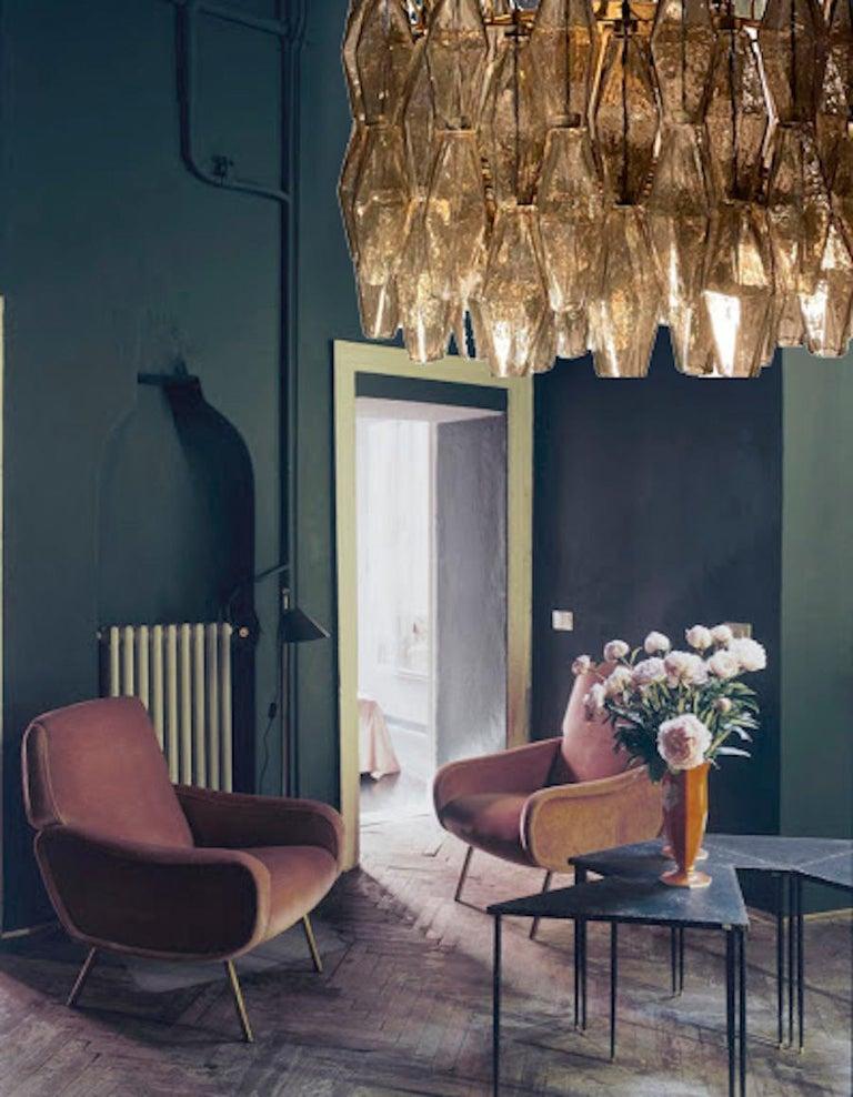 Pair of Grey Poliedri Murano Glass Chandeliers Carlo Scarpa Style For Sale 13