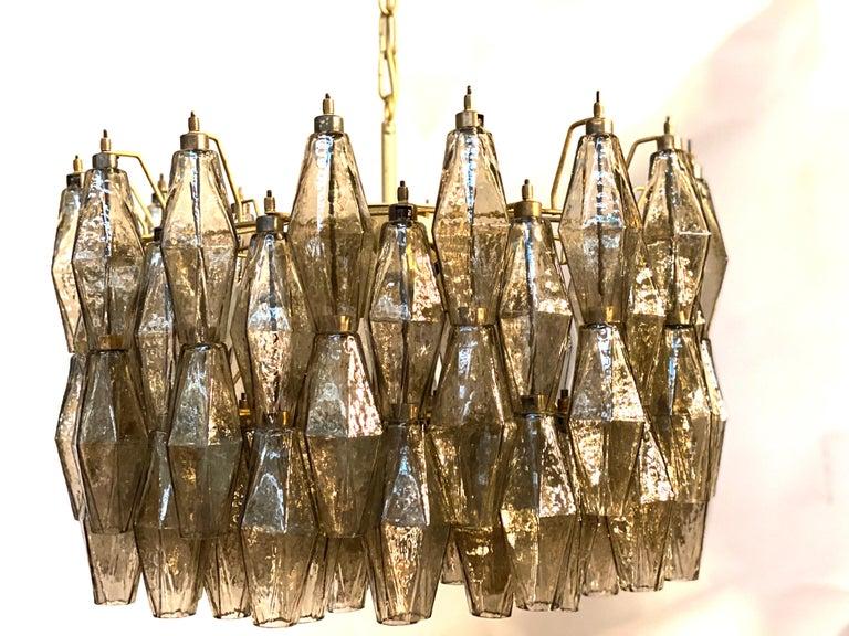 Mid-Century Modern Pair of Grey Poliedri Murano Glass Chandeliers Carlo Scarpa Style For Sale