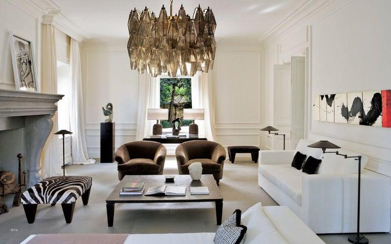 Italian Pair of Grey Poliedri Murano Glass Chandeliers Carlo Scarpa Style For Sale