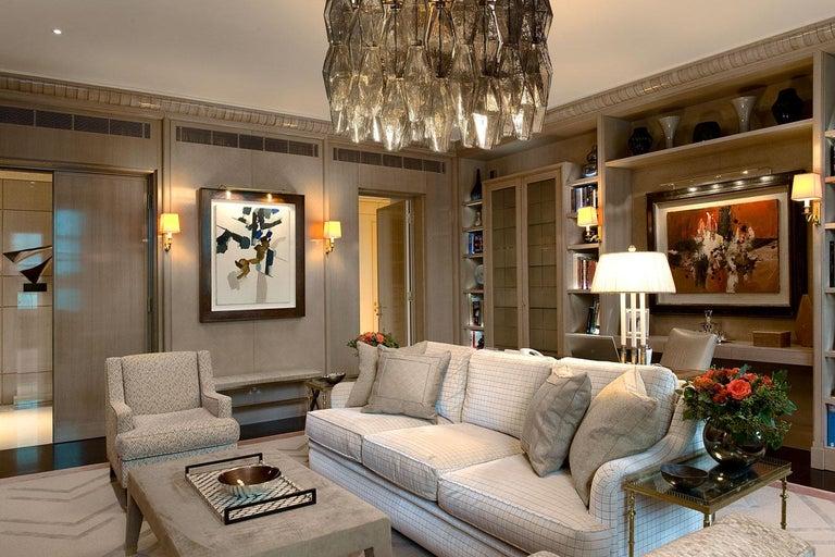 20th Century Pair of Grey Poliedri Murano Glass Chandeliers Carlo Scarpa Style For Sale