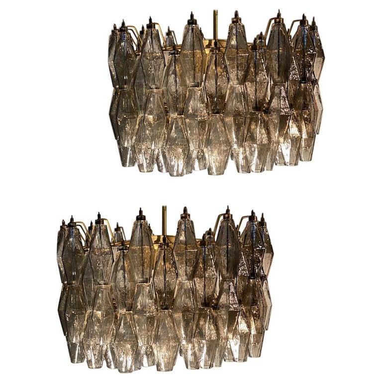 Pair of Grey Poliedri Murano Glass Chandeliers Carlo Scarpa Style For Sale