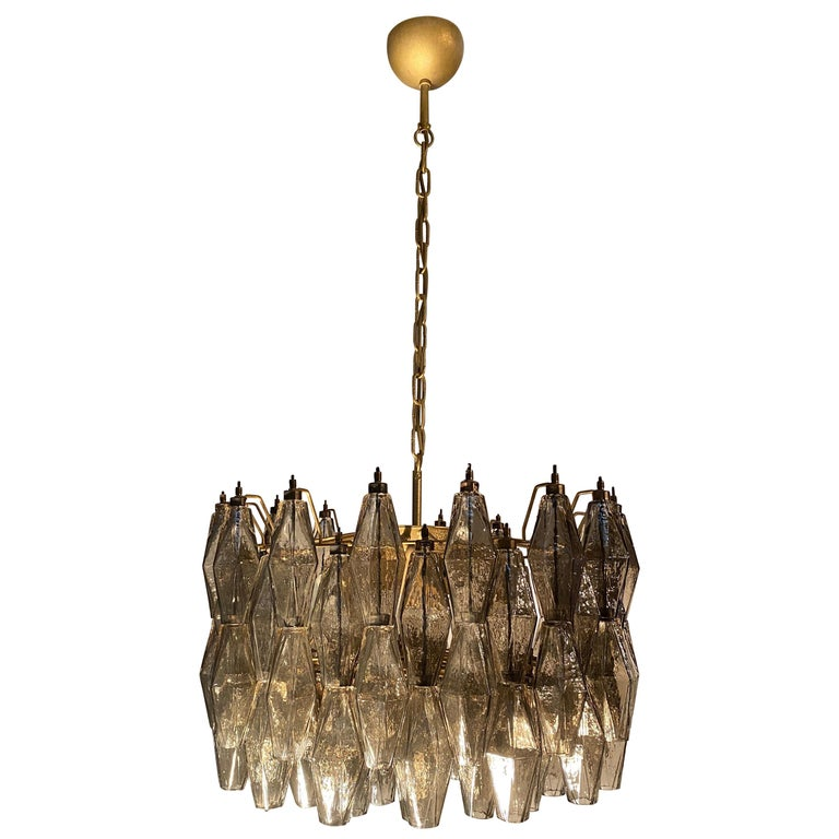 Pair of Grey Poliedri Murano Glass Chandeliers in Carlo Scarpa Style For Sale 4
