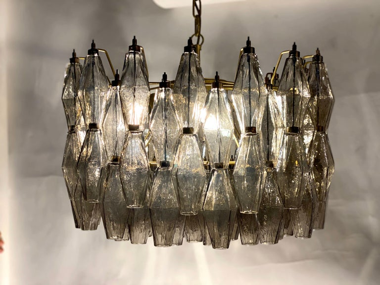 Pair of Grey Poliedri Murano Glass Chandeliers in Carlo Scarpa Style For Sale 10