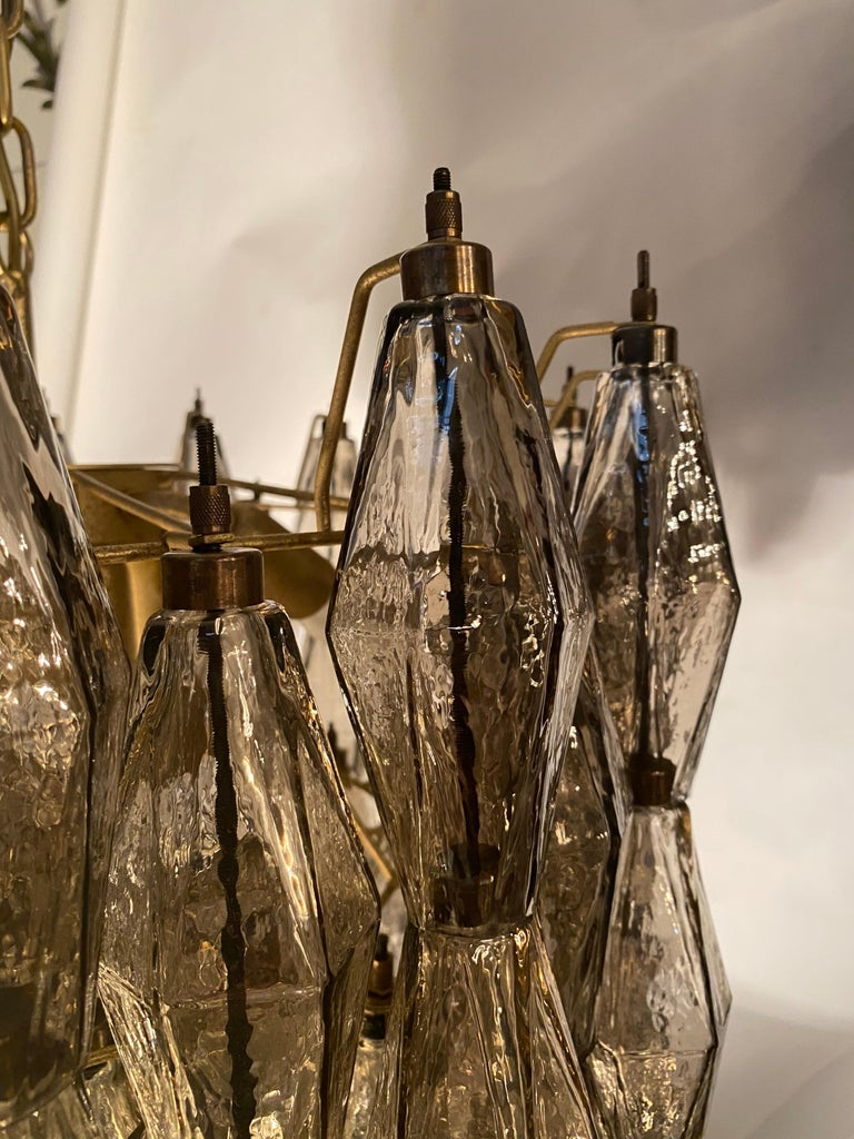 20th Century Pair of Grey Poliedri Murano Glass Chandeliers in Carlo Scarpa Style For Sale