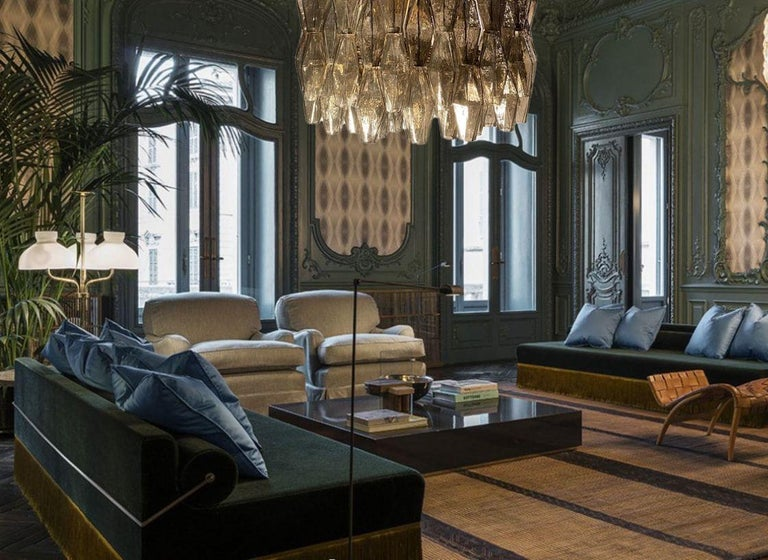 Pair of Grey Poliedri Murano Glass Chandeliers in Carlo Scarpa Style For Sale 1