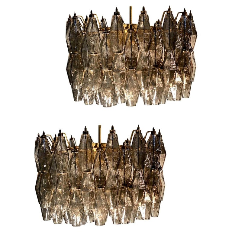 Pair of Grey Poliedri Murano Glass Chandeliers in Carlo Scarpa Style For Sale