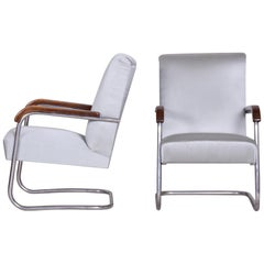 Pair of Grey Restored Tubular Thonet Armchairs by Anton Lorenz, 1930s