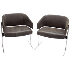Pair of Grey Senior Armchairs by Jorge Zalszupin in Soft Leather, Brazil 1960s