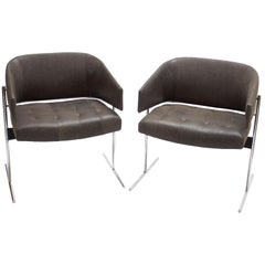 Pair of Grey Senior Armchairs by Jorge Zalszupin in Soft Leather, Brazil, 1960s