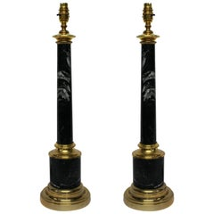 Pair of Grey Tuscan Marble Column Lamps