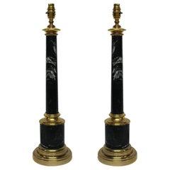 Pair of Grey Tuscan Marble Column Lamps