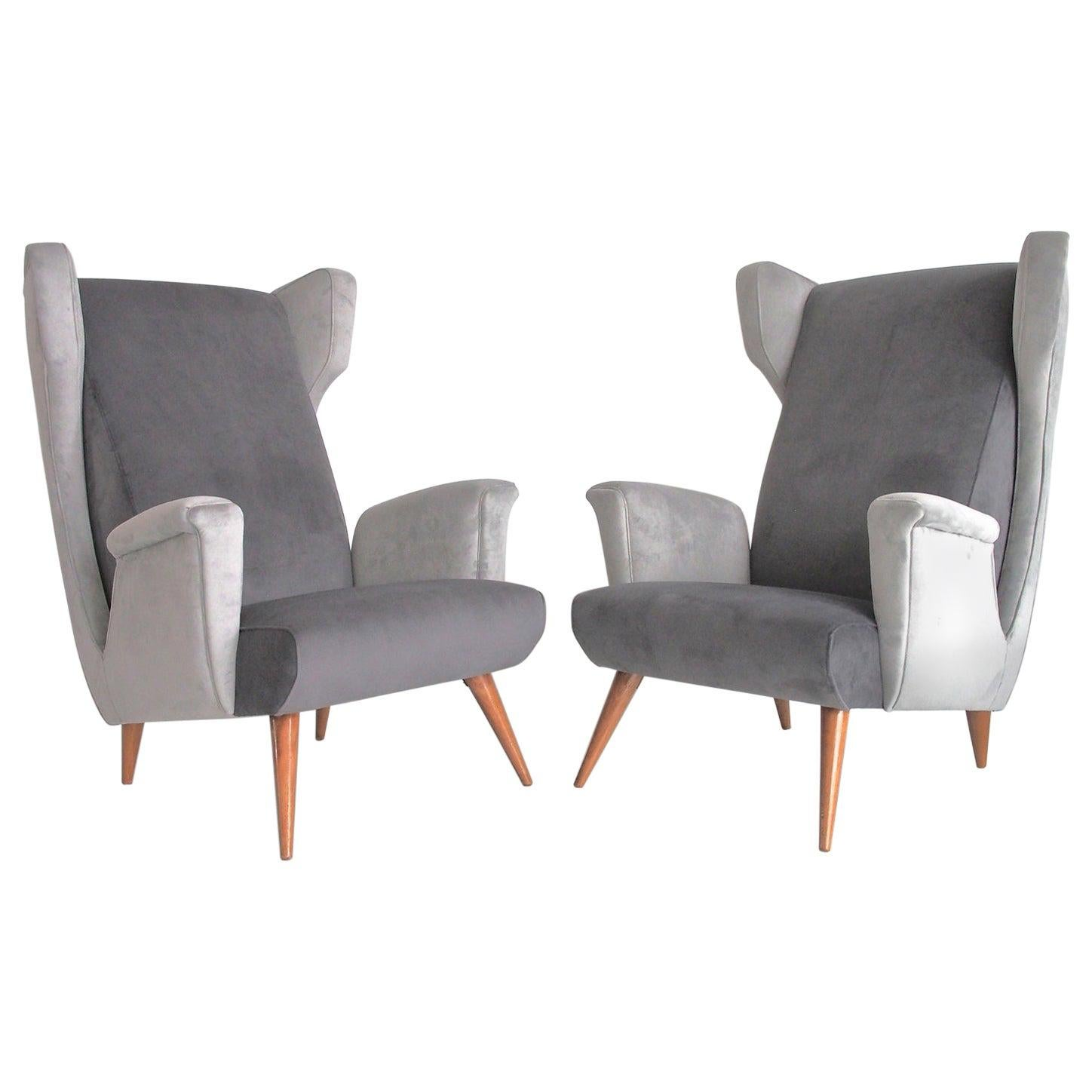 Pair of Grey Velvet Armchairs in the Style of Paolo Buffa
