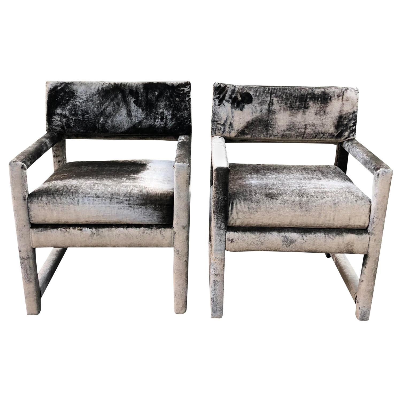 Pair of Grey Velvet Milo Baughman Style Parsons Club Chairs