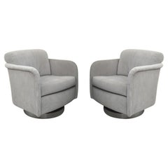 Pair of Grey Velvet Milo Baughman Swivel Chairs, Newly Upholstered