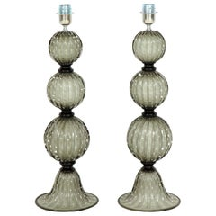 Pair of Grey with Ivory Undertone Murano Glass Lamps, Italy, Signed