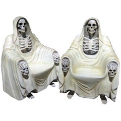 Pair of Clothed Skeleton Grim Reaper Throne Style Club Chairs