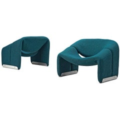 Pair of 'Groovy' Lounge Chairs by Pierre Paulin in Turquoise Fabric