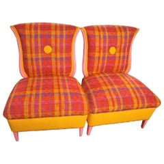 Pair of Grosfeld Hosue Tulku Style Irish Wool Slipper Chairs