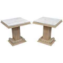 Pair of Grosfeld House Hollywood Regency Column Pedestal Marble Top Side Tables