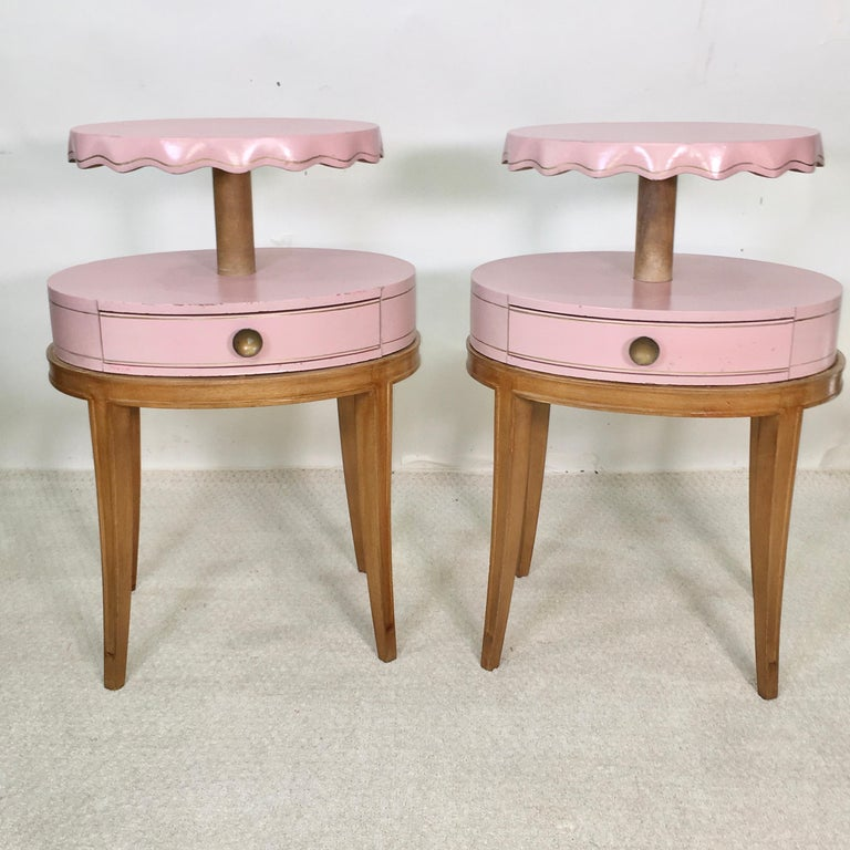 Pair of Grosfeld House Night Tables In Good Condition For Sale In Hingham, MA