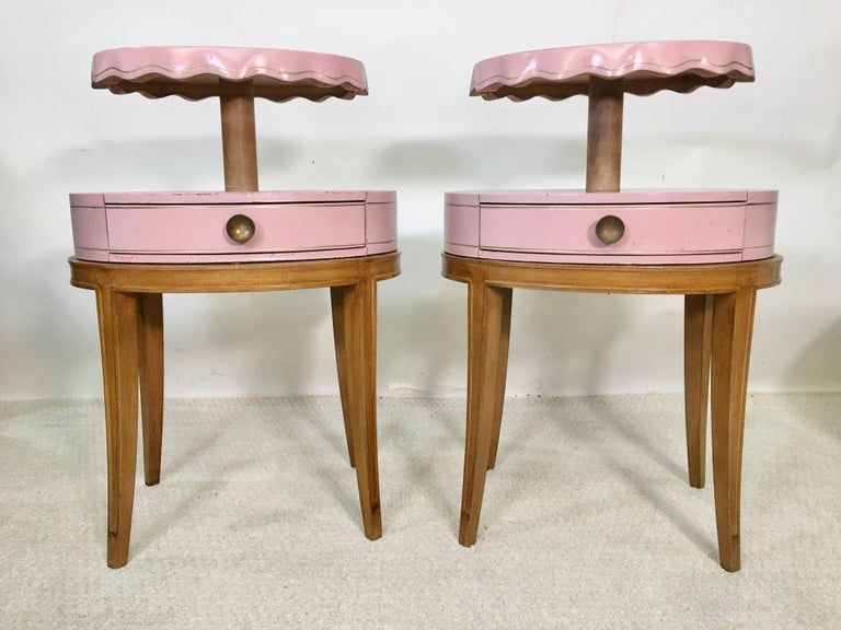Leather Pair of Grosfeld House Night Tables For Sale