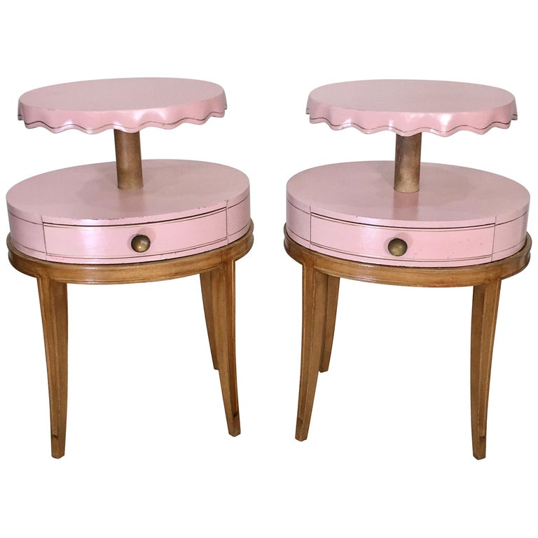 Pair of Grosfeld House Night Tables For Sale