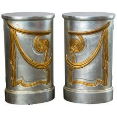 Pair of Grosfeld House Oval Silver Cabinets