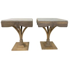 Pair of Grosfeld House Plume Marble-Top Side Tables