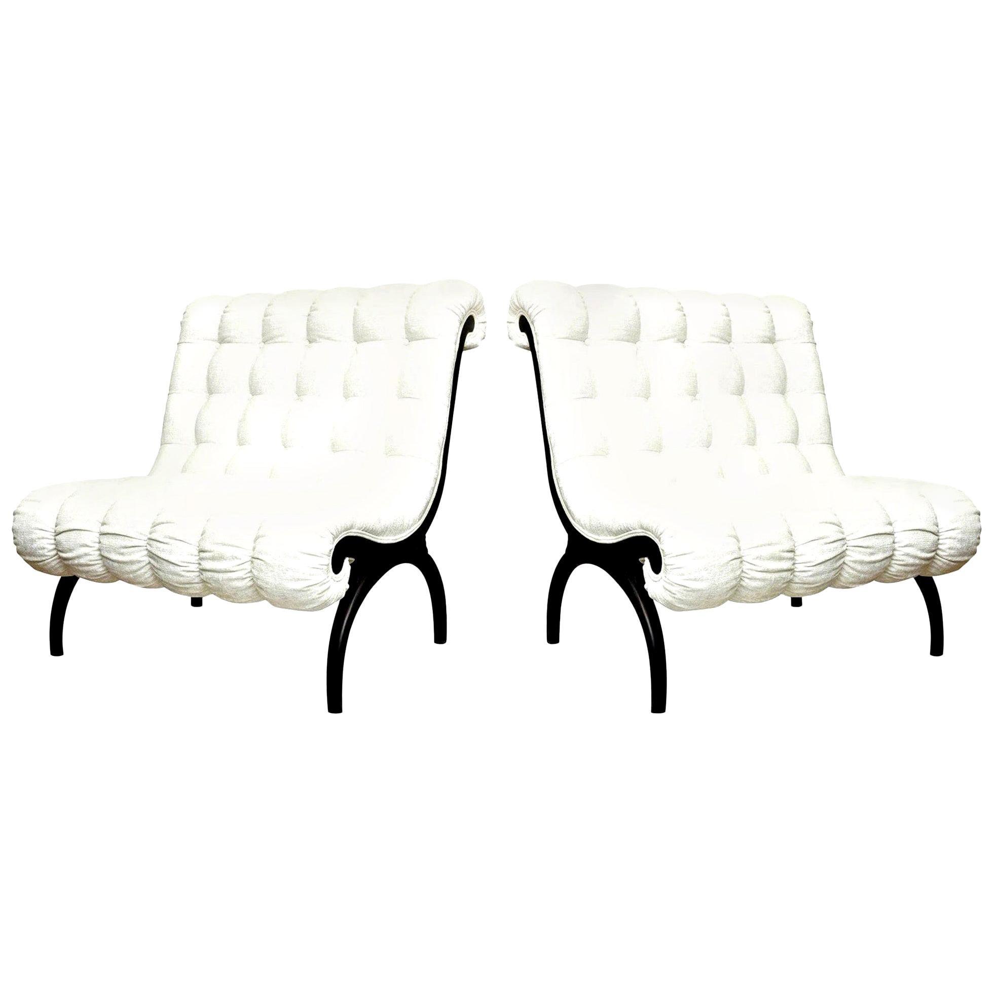 Pair of Grosfeld House Regency Lounge Chairs or Settees Vintage
