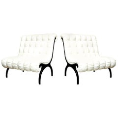 Pair of Grosfeld House Regency Lounge Chairs or Settees Vintage