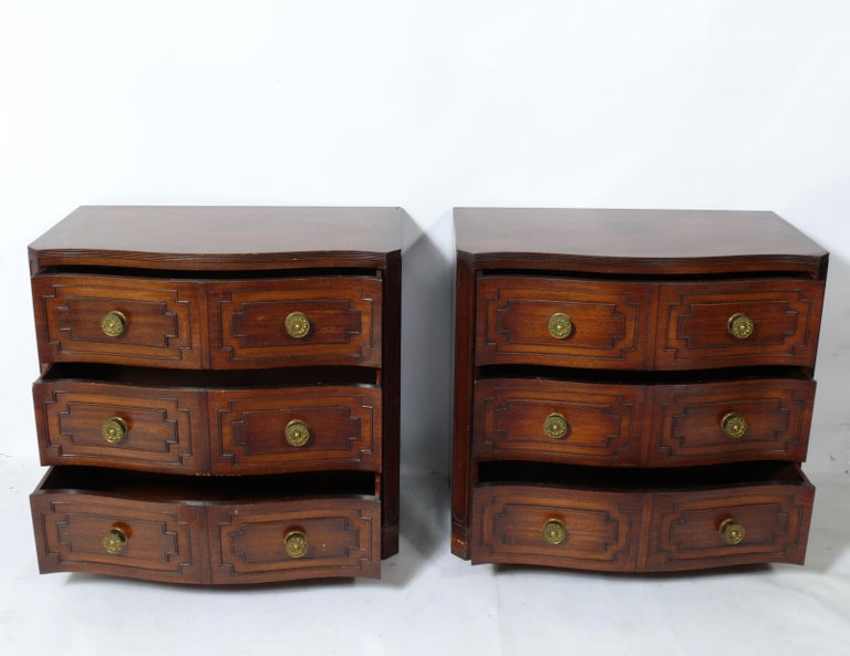 Hollywood Regency Pair of Grosfeld House Serpentine Chests For Sale