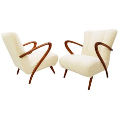 Pair of Guglielmo Ulrich Armchairs, Italy 1950, New Upholstery