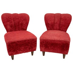 Pair of Guglielmo Ulrich Art Deco Italian Small Armchairs, 1940s