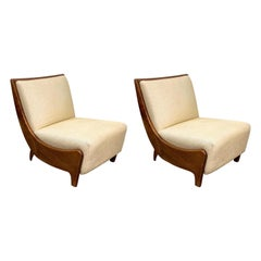Pair of Guglielmo Ulrich Walnut Wood and White Fabric Italian Armchairs, 1930s
