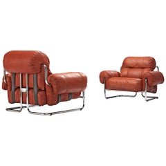 Pair of Guido Faleschini Armchairs in Red Leather