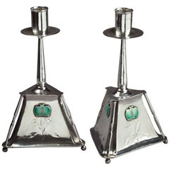Pair of Guild of Handicraft Enameled Silver Candlesticks