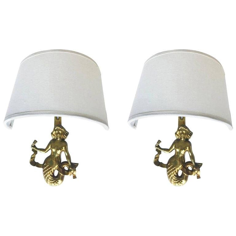 Pair of Guillemard Mermaids Sconces For Sale