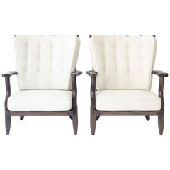 Pair of Guillereme et Chambron for Votre Maison Petit Repos French Lounge Chairs