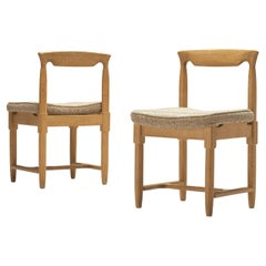 Pair of Guillerme & Chambron Dining Chairs in Solid Oak