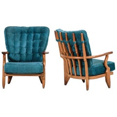 """Pair of Guillerme et Chambron Armchairs """"Grand Repos"""", France, 1950s"""