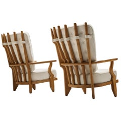 Pair of Guillerme et Chambron Customizable 'Grand Repos' Lounge Chairs