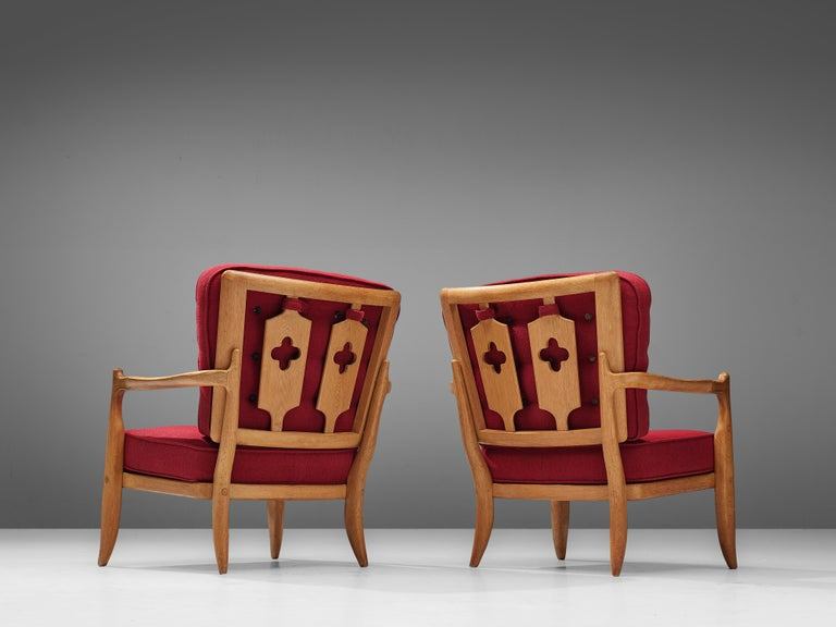 Pair of Guillerme et Chambron Easy Chairs in Oak and Red Upholstery For Sale 3