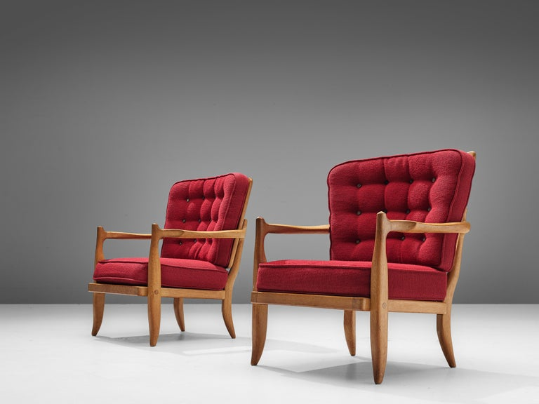 Pair of Guillerme et Chambron Easy Chairs in Oak and Red Upholstery For Sale 4