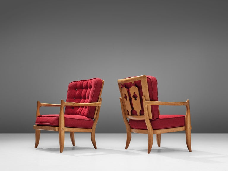 French Pair of Guillerme et Chambron Easy Chairs in Oak and Red Upholstery For Sale