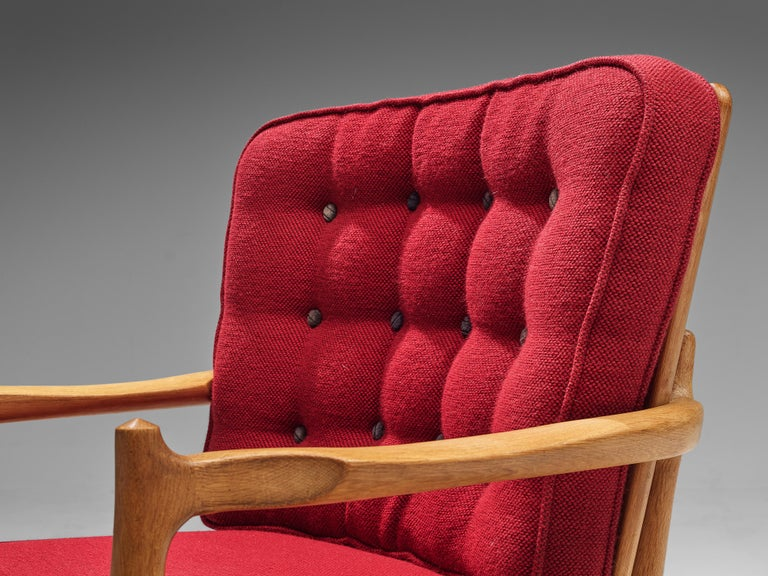 Fabric Pair of Guillerme et Chambron Easy Chairs in Oak and Red Upholstery For Sale