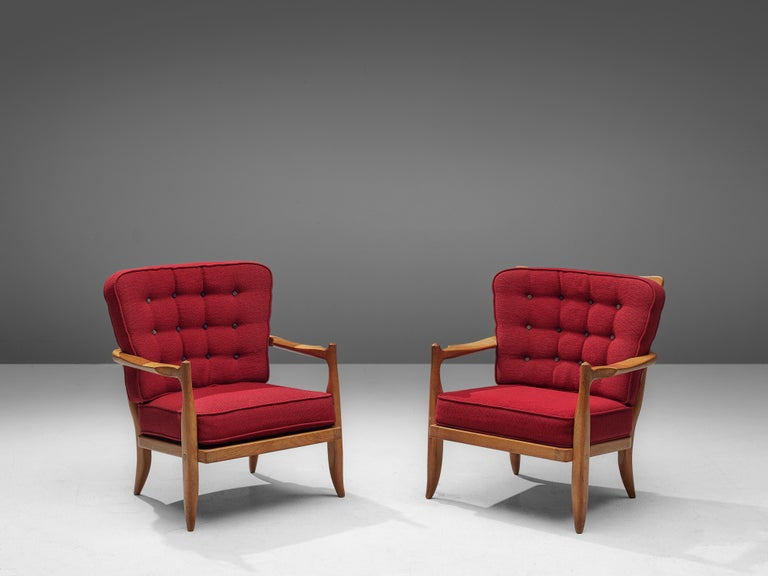 Pair of Guillerme et Chambron Easy Chairs in Oak and Red Upholstery For Sale 1