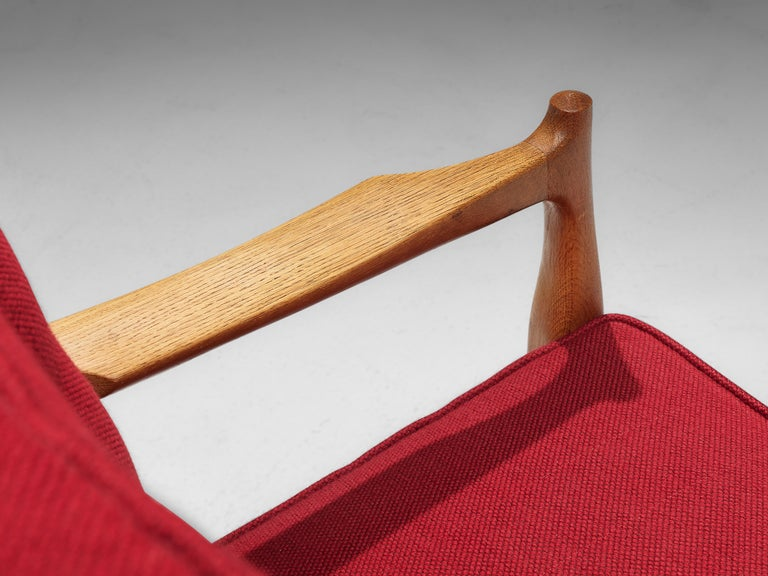 Pair of Guillerme et Chambron Easy Chairs in Oak and Red Upholstery For Sale 2