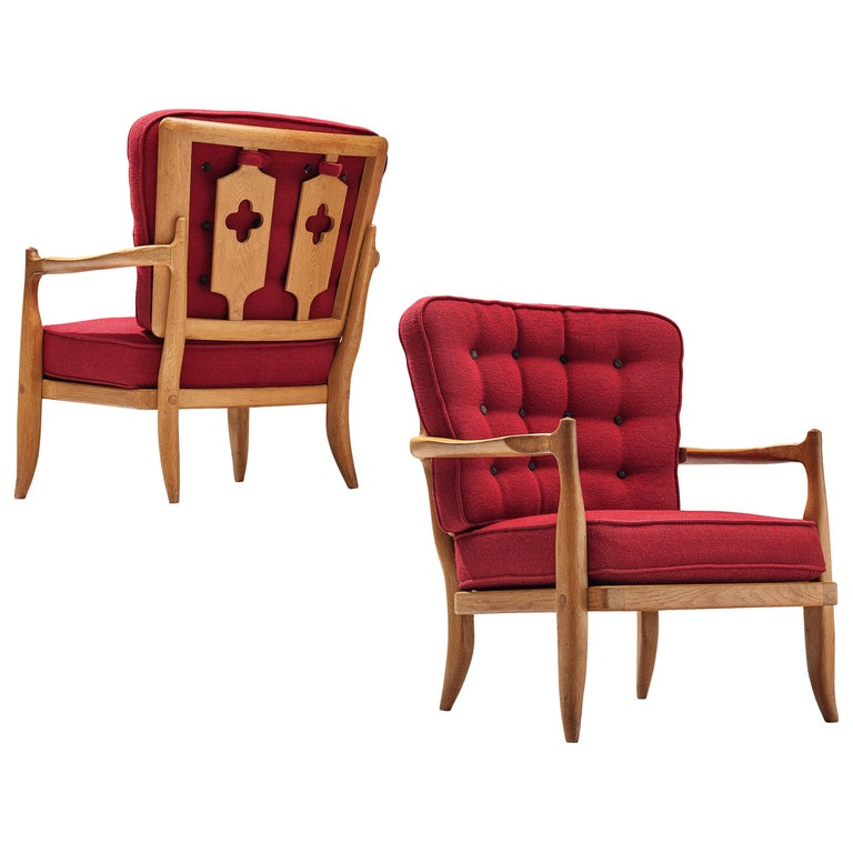 Pair of Guillerme et Chambron Easy Chairs in Oak and Red Upholstery For Sale