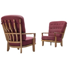 Pair of Guillerme et Chambron 'Mid Repos' Lounge Chairs